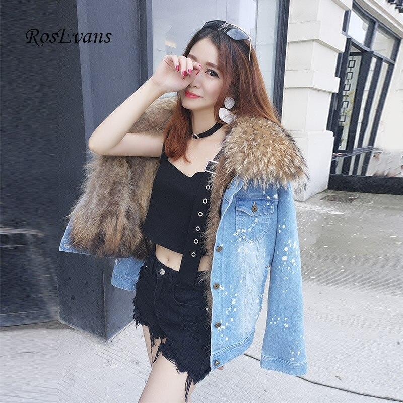 RosEvans Winter Womens Genuine Raccoon Fur Collar + Real Raccoon Fur Lined Denim Jeans Coats Jacket Female Overcoat 2017 B627