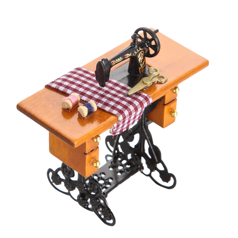 1 12 Pretend Toy Vintage Miniature Sewing Doll Machine Furniture Toys for Doll House Decor Children