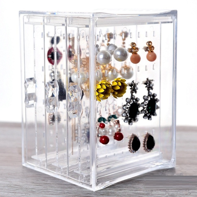3 Layer Clear Acrylic Organizer Jewelry Storage Rack Earring Hanging Holder  For Necklace Ear Studs Jewelry