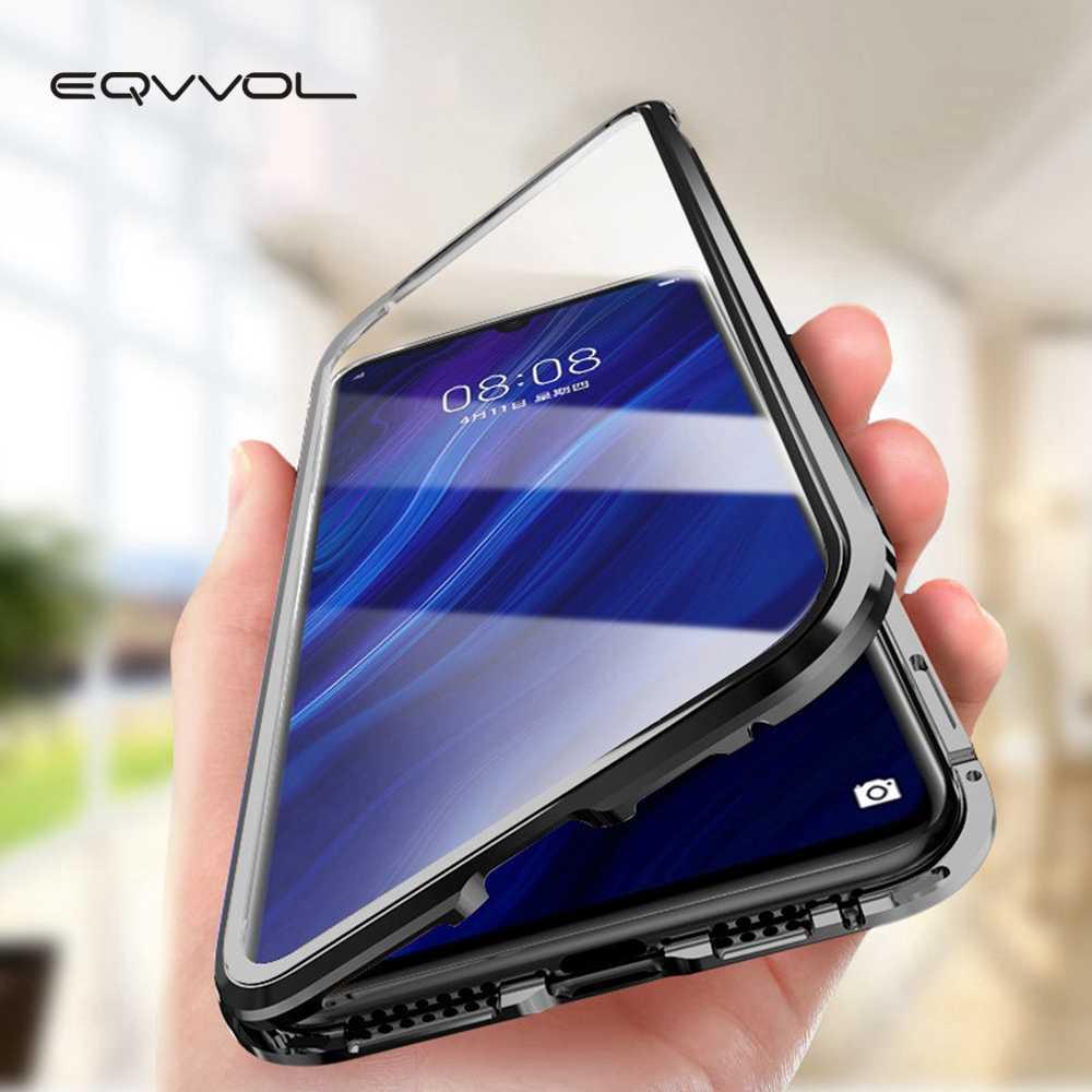 Eqvvol Atualização De Metal Magnético Caixa Do Telefone Para Samsung Galaxy S9 S8 S10 Além de Dupla Face Caixa de Vidro No Samsung Nota 8 9 S8 Capa