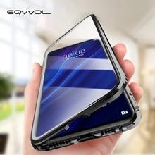 Eqvvol ترقية المعادن المغناطيسي الهاتف حقيبة لهاتف سامسونج غالاكسي S9 S8 S10 زائد مزدوجة الوجهين الزجاج على سامسونج نوت 8 9 S8 غطاء
