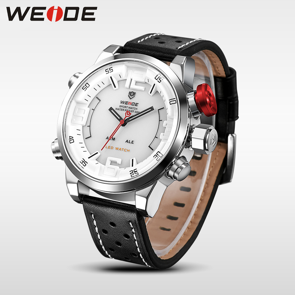WEIDE men watches 2017 luxury brand Famous Brand Sport Watch Men Digital Quartz Alarm Dual Time Leather Strap Relogio Masculino weide casual genuin brand watch men sport back light quartz digital alarm silicone waterproof wristwatch multiple time zone