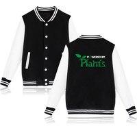 Znaczące Wzór Kurtka Promować, Aby Być Zasilany Przez Rośliny Wegańskie Baseball Jednolite Różowy Sweter Z Kapturem Mężczyzna Ciekawe Ubrania Kurtka