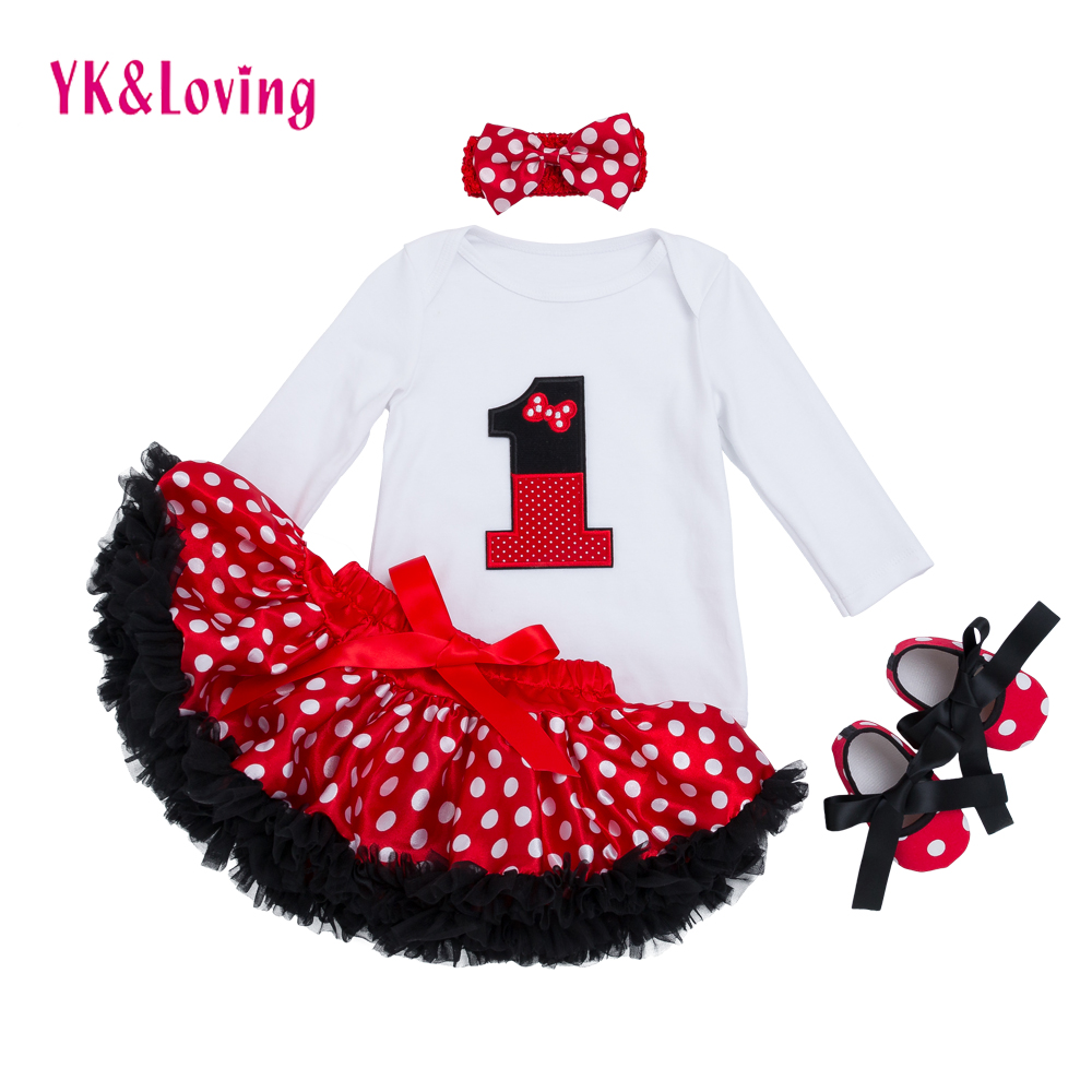 Infant Clothing 4pcs sets White Long Sleeve Rompers Red Tutu Skirt Ruffle Pettiskirt Shoes Headband Baby Girls Clothes YK&Loving red black 8 layered pettiskirt red sparkle number ruffle red bow tank top mamg579