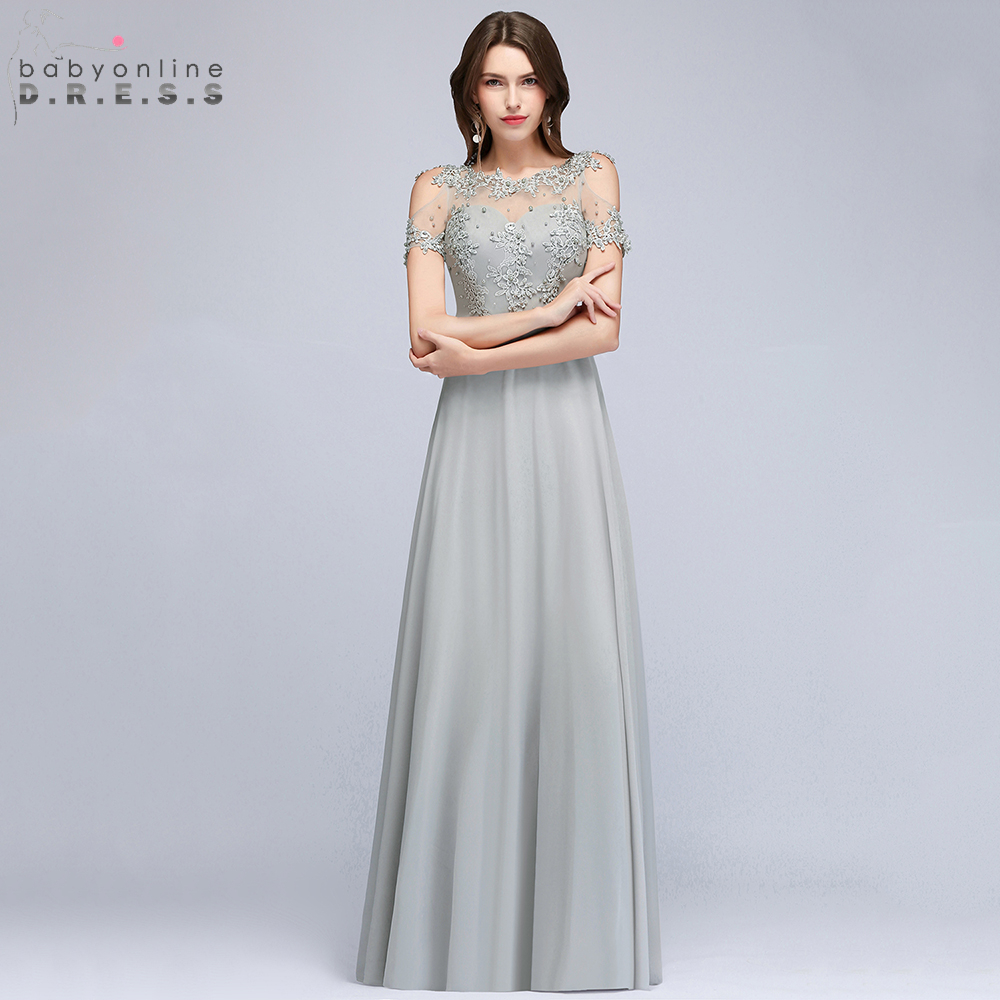 Babyonline Short Sleeves Lace Beaded Long Chiffon   Evening     Dresses   2019 Sexy Sheer Back Formal Party   Dresses   robe de soiree
