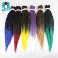 Роскошные 10 упаковок оптом купить предварительно растягивающиеся плетеные волосы синтетические волосы для наращивания 26 дюймов Омбре цвет EZ косички