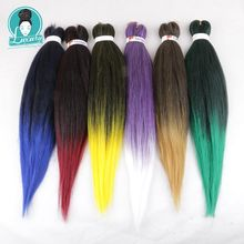Luxe 10Packs Bulk Kopen Pre Uitgerekt Vlechten Haar Synthetisch Hair Extensions 26Inch Ombre Kleur Ez Vlechten