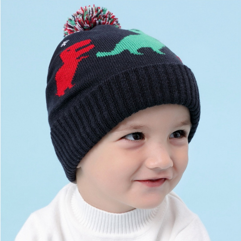 5cf7d1032ad0f 0 4Y Children s Autumn Winter Cartton Dinosaur Pattern Knitted Pullover Cap  Earmuffs Keep Warm Baby Boy Girl New Cap-in Hats   Caps from Mother   Kids  on ...