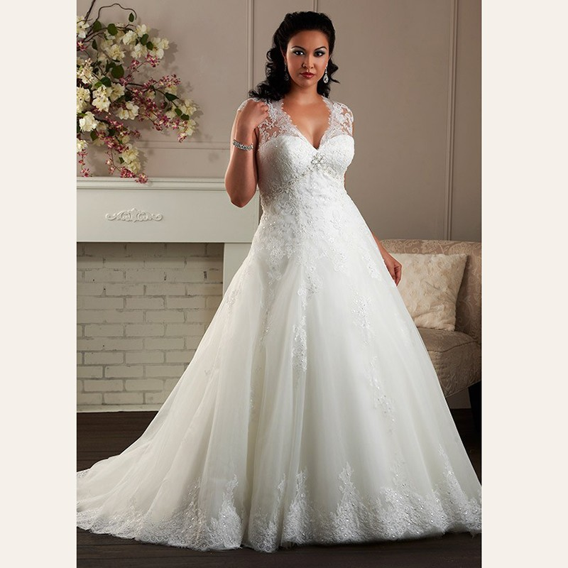 A-Line-Cap-Sleeve-Plus-Size-Wedding-Dress-Plunging-Neckline-Big-Vestido-Appliques-Lace-Bridal-Gown