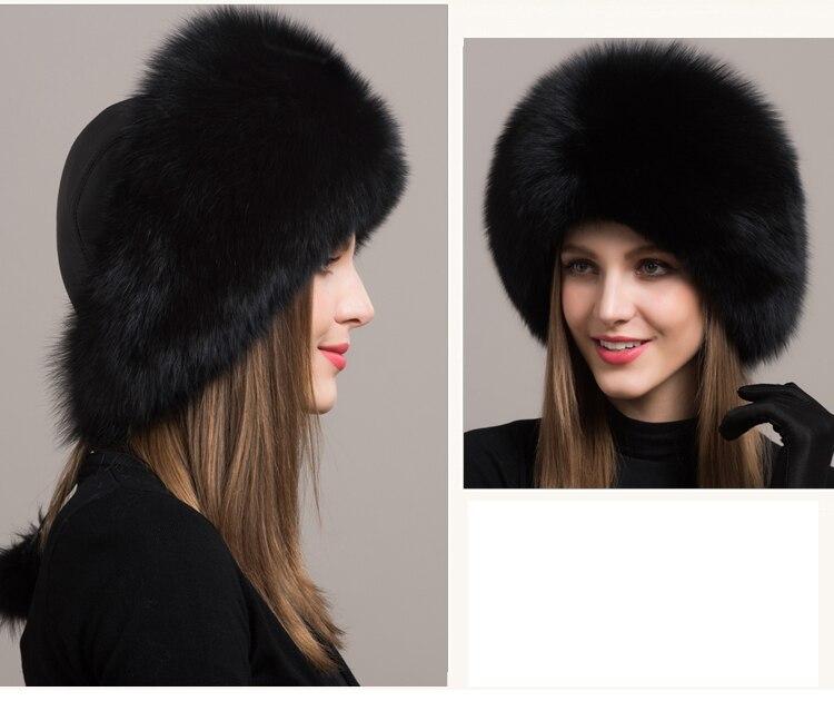 Winter Sexy Vintage Fashion Casual Nieuwe Vrouwen Vrouw Echte Natuurlijke Vos Hoed Warmer YH55 - 5