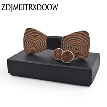 купить New design ties for men Wedding Suits Wooden Bow Tie gravata Butterfly Carved Cufflinks tie set по цене 378.77 рублей
