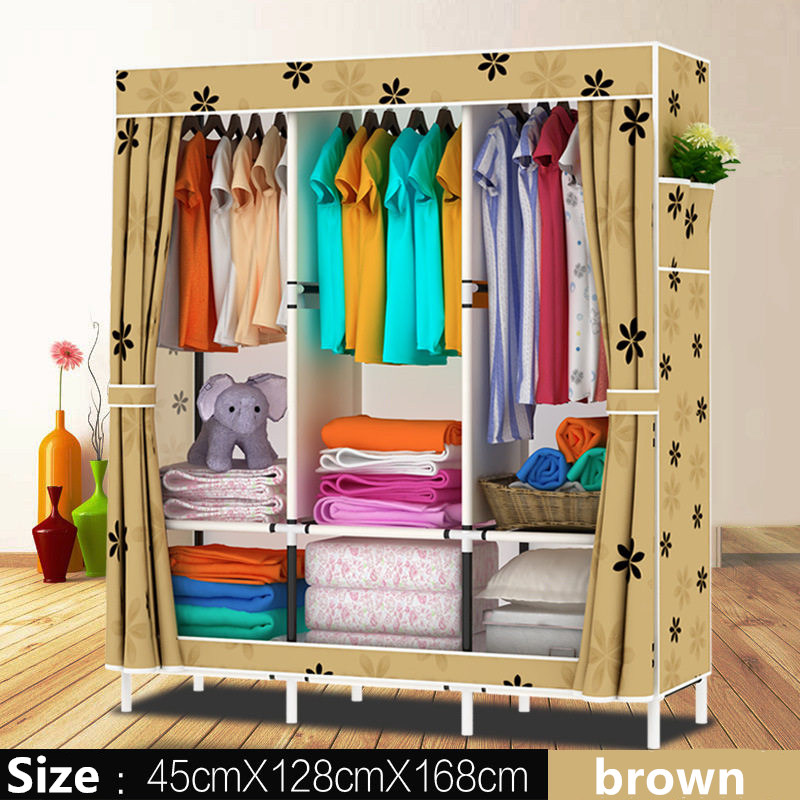 цена на Oxford cloth Wardrobe Closet Large And Medium-sized Cabinets Simple Folding Reinforcement Receive Stowed Clothes