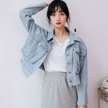 Oversized Cropped Blue Jean Jackets Women Vintage Long Sleeve Denim Jacket Coat Spring Autumn Casual Loose Chaquetas De Mujer