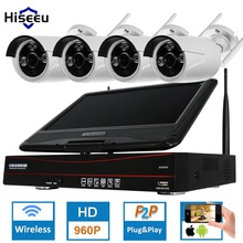 Hiseeu 4CH 960 P 10 дюймов displayer Беспроводной CCTV Системы Беспроводной NVR IP Камера IR-CUT Пуля Главная безопасности Системы CCTV Комплект