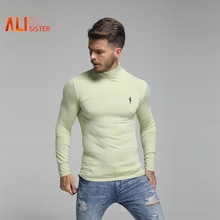 Alisister Quick Dry Turtleneck Long Sleeve Men's T Shirt Autumn Men Fitness Clothes Sport Slim Casual T-shirt Tops 2019(China)