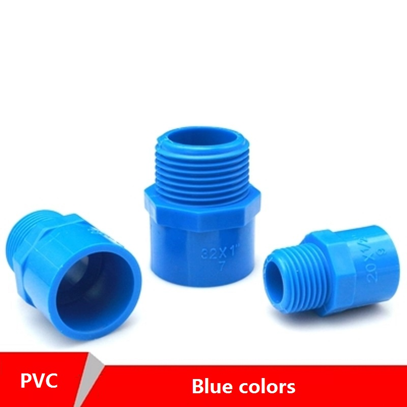 1 PC PVC 1/2-20 3/4-25 1-32MM Male Thread Straight Connector For Garden Irrigation Water Pipe Fittings Blue Adapter image