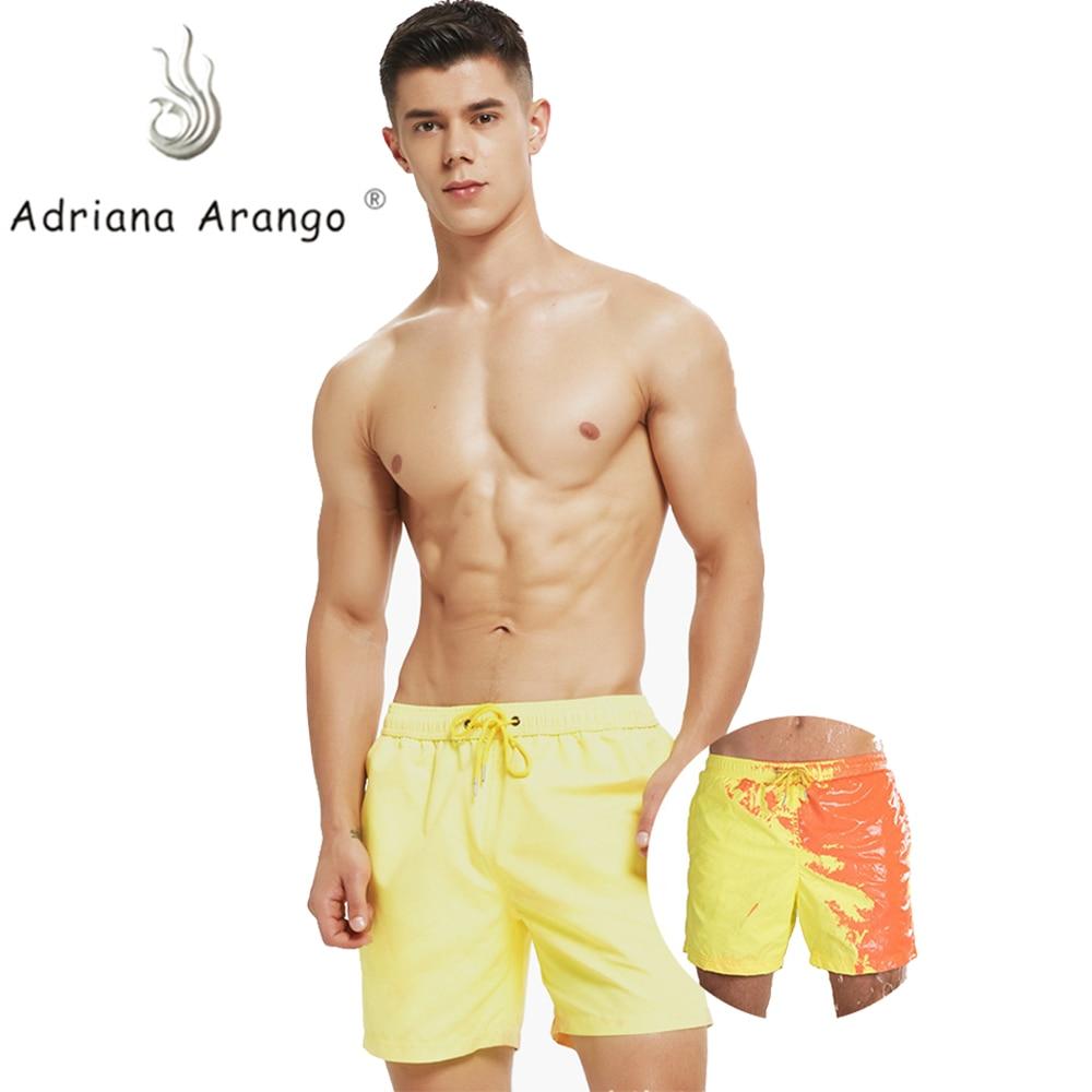 Adriana Arango hommes plage courte changement couleur pantalon de plage pour garçon séchage rapide haute température décoloration mâle course Gym troncs