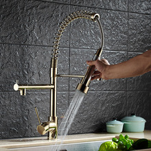 Luxus Gold Farbe Neue Küchenarmatur Wasserhahn Zwei Schwenkbaren Tüllen Extensible Frühling Mischbatterie Gold Pull Out Unten Spüle wasserhahn