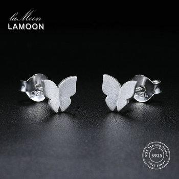 Wiredrawing Butterfly Shaped 100% 925-Sterling-Silver Stud Earrings