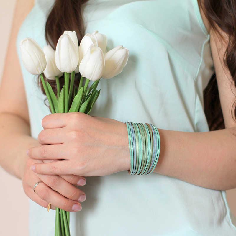 Amorcome Bohemian Leather Bracelets for Women 2019 Fashion Ladies Slim Strips Multilayer Wide Wrap Bracelet Female Jewelry Gift