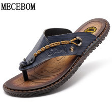 New Brand men's sandals slippers genuine leather male summer shoes outdoor casual leather sandalslias Zapatos hombre size 38-44