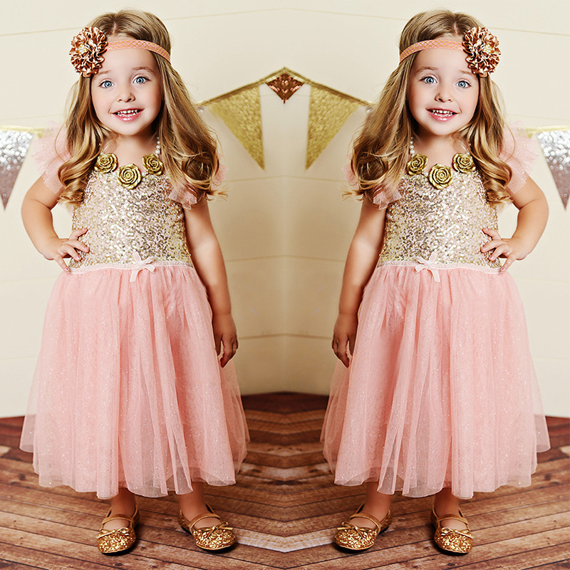 new 2015 pink lace gold sequined princess party dress for
