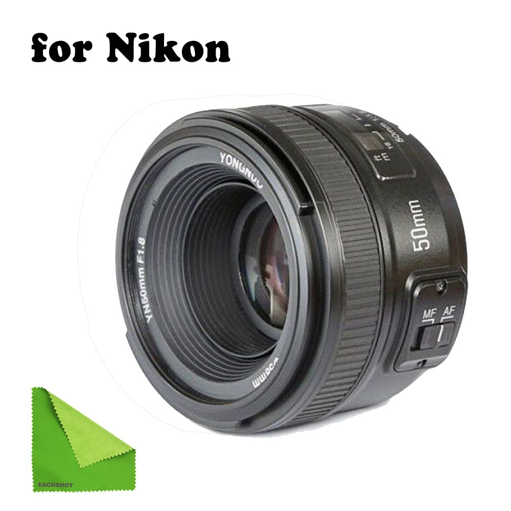 YONGNUO YN EF 50mm f/1.8 AF Lens YN50 Aperture Auto Focus for Nikon Cameras as AF-S 50mm 1.8G With EACHSHOT Cleaning Cloth объектив nikon 50mm f 1 8g af s nikkor