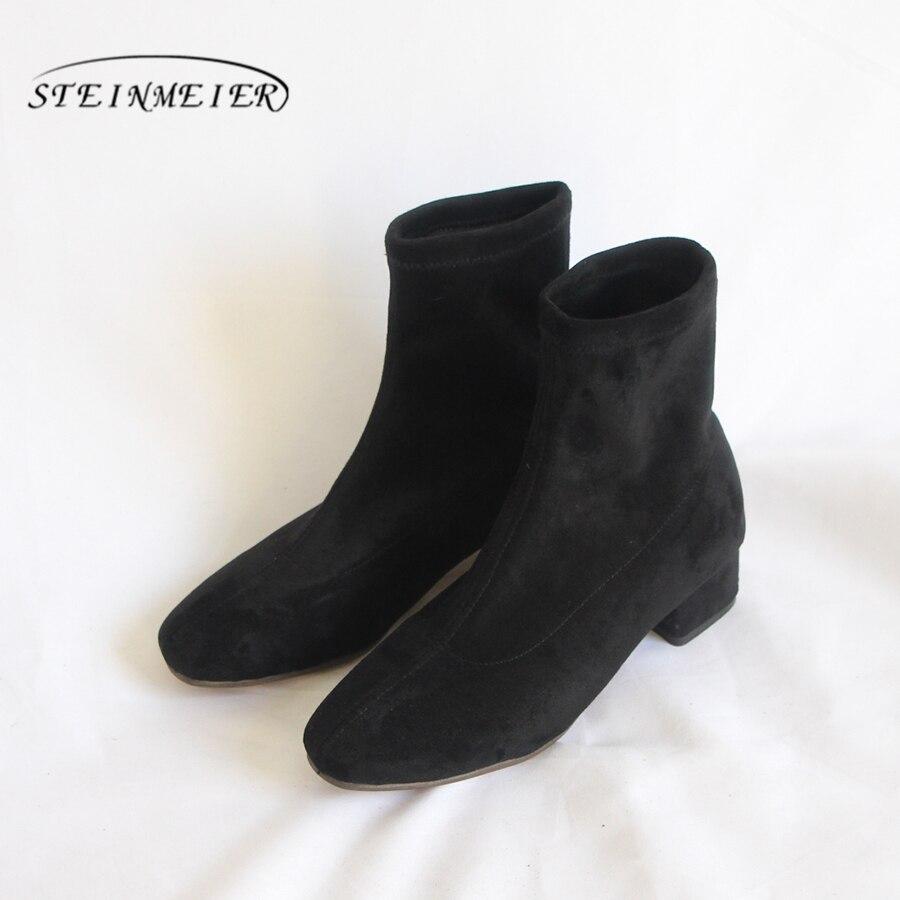 Designer D'hiver Cheville Femmes 2019 Suédé Marque Confortable Chaussures Véritable Vache Main Noir En Doux Bottes Qualité Cuir Black gwqx67xI