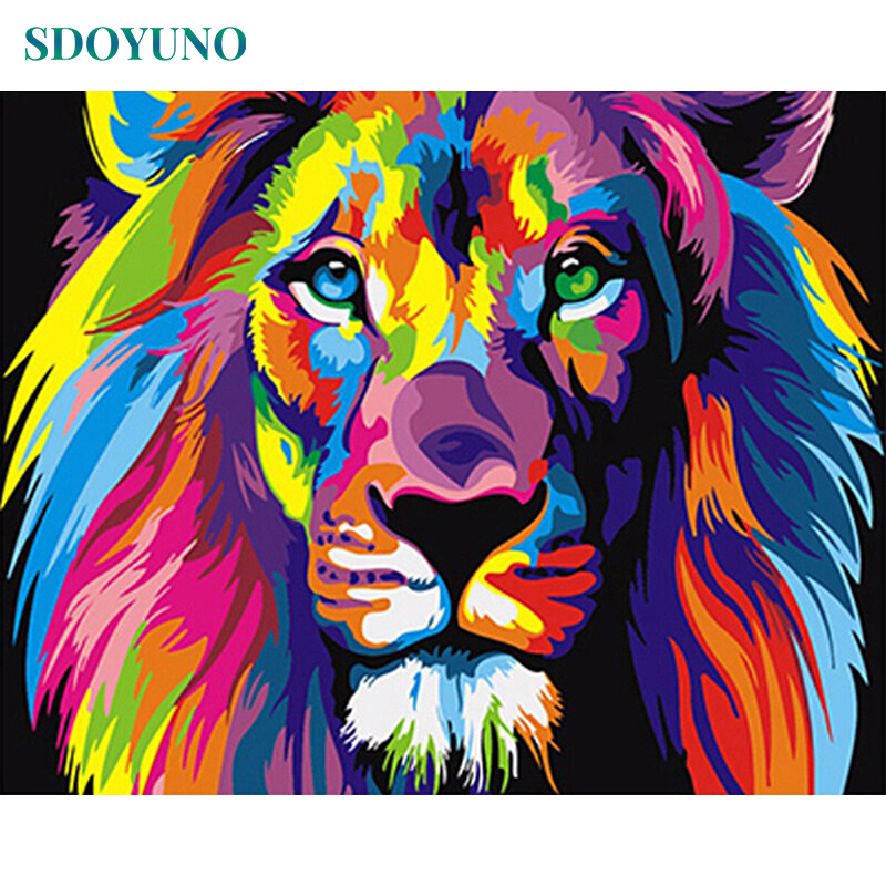 HTB1EZHEMCzqK1RjSZFjq6zlCFXaw SDOYUNO 60x75cm Frame DIY Painting By Numbers Kits Colorful Lions Animals Hand Painted Oil Paint By Numbers For Home Decor Art