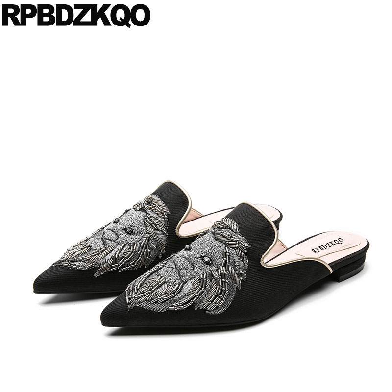 Mules Women Slippers Summer Flats Handmade Designer Pointed Toe Sandals Slides Embroidery Chinese Embroidered Shoes Black Lions flats slippers suede pink sandals mary jane genuine leather pointy summer slides designer shoes women luxury 2018 mules gray