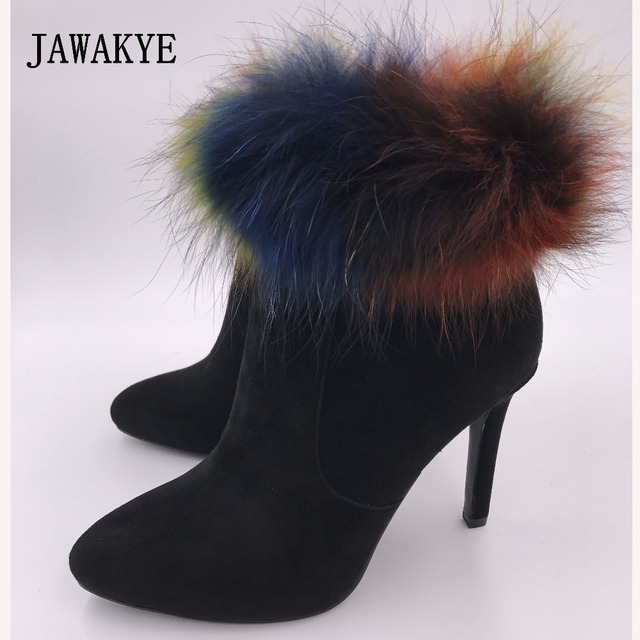 74059eabe2f JAWAKYE Sexy Point Toe Black Real Suede Ankle Boots Women Colorful Big Fox  Fur Snow Boots Girls high heels Winter Boots Woman