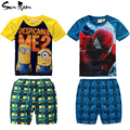 Retail kids clothing set Spiderman Minions clothes summer baby boy clothing sets short sleeve children t shirt + plaid pants