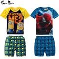 Retail kids sistema de la ropa de Spiderman Minions ropa de verano ropa de bebé niño establece niños de manga corta camiseta + plaid pants