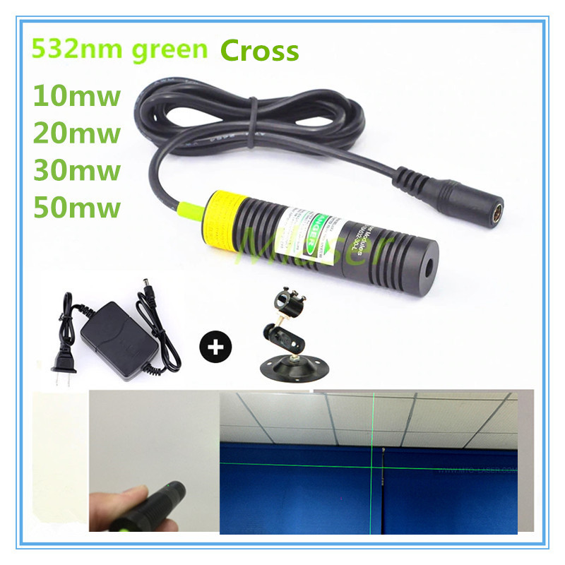D18mm  532nm 10mw 20mw 30mw 50mw Cross Line Laser Module For Clothes Cutting / Wood Cutting Mechanical Positioning