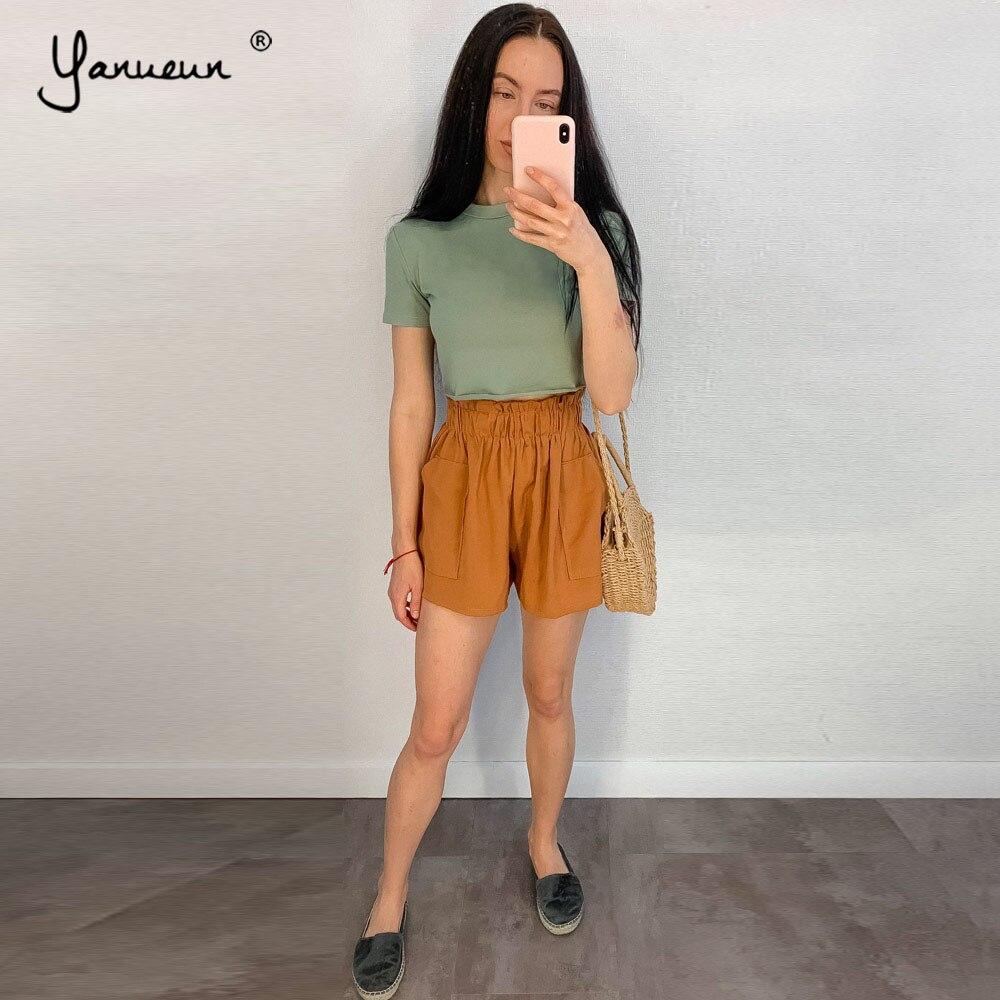 Yanueun Loose Shorts Elastic Waist Summer Women 2019 Summer Hot High Waist Casual Pockets Trendy Shorts For Lady