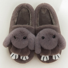 Cartoon rabbit ladies lovely winter slippers indoor plush basic female shoes totem fur plus size 36-44