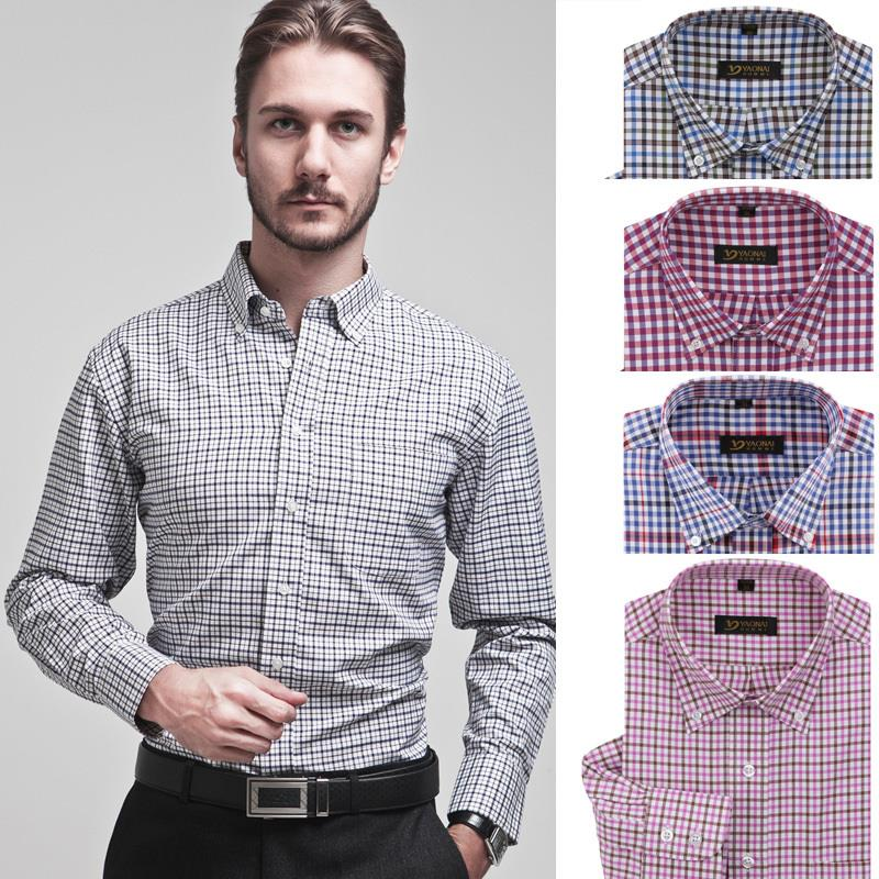 Mens clothing long sleeve casual plaid brand dress shirt for Corporate shirts for men