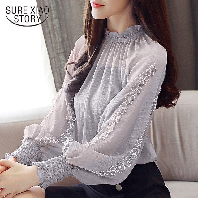 New 2018 Autumn Women Blouses Chiffon Shirt Loose Lantern Long Sleeves Lace Stitching Bottoming Shirt  Female Tops Blusa 0792 30