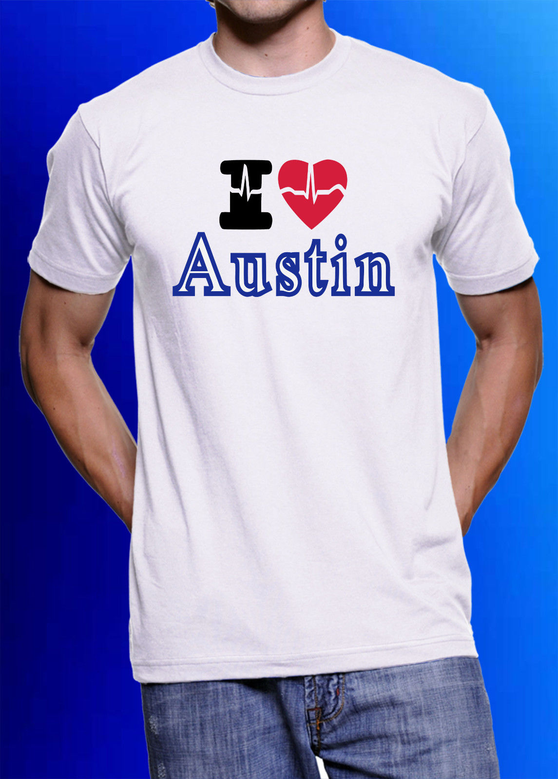 I Love Austin Faded Music City Texas Heart Party T-shirt Short Sleeve