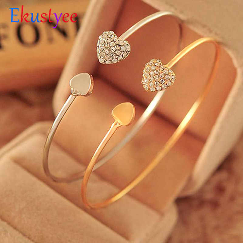 Adjustable Crystal Double Heart Bow Bilezik Cuff Opening Bracelet Hot New Fashion  Women Jewelry Gift Mujer Pulseras
