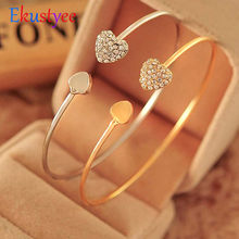 Adjustable Crystal Double Heart Bow Bilezik Cuff Opening Bracelet Hot New Fashion Women Jewelry Gift Mujer Pulseras(China)