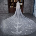 ZYLLGF Bridal 2017 New Long Cathedral Tulle Bridal Veils For Bride In Stock Wedding Hair Accessories Veil With Appliques BV33