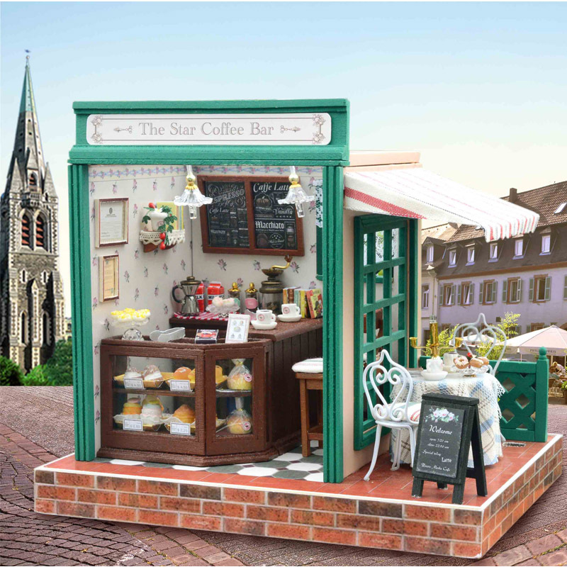 DIY Handmade Dollhouse The Star Coffee Bear with Music LED Light Relax Shop Assembling Miniature House with Furnitures Kids Toys 1