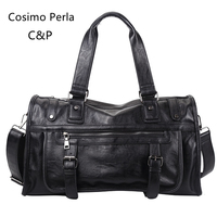 Black Punk FASHION Men Leather Travel Bags Hand Luggage Large Size Duffel Crossbody Bags Black Soft PU Male Weekend Bag Suitcase
