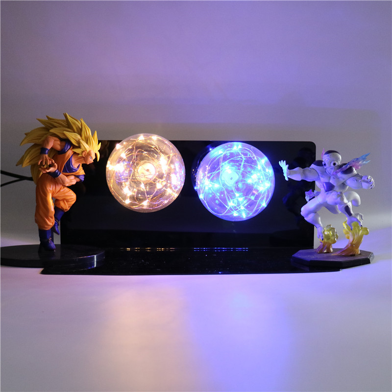 Dragon Ball Z Super Saiyan DIY Anime PVC Model Goku Action Figures Collectible Baby Dolls LED Night Light for Children Kids Toys 6pcs set disney trolls dolls action figures toys popular anime cartoon the good luck trolls dolls pvc toys for children gift