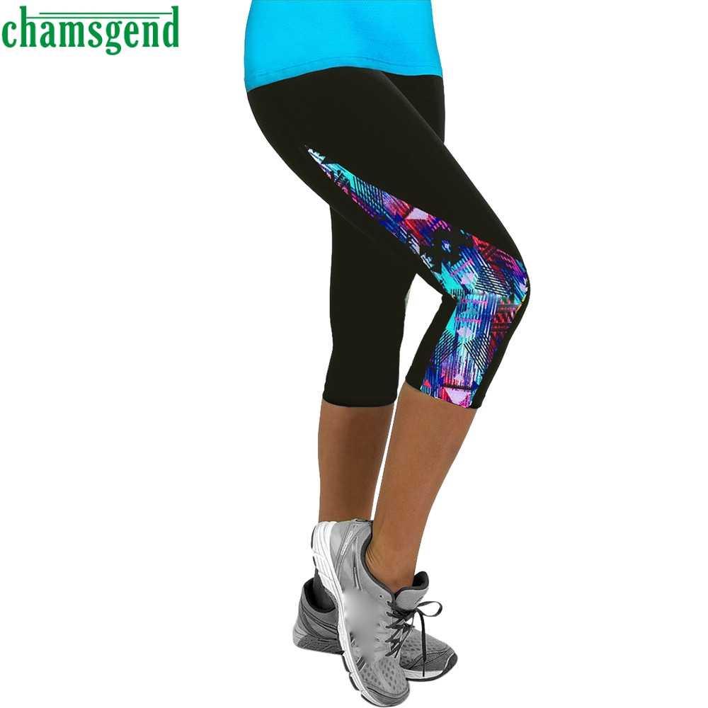 CHAMSGEND Yoga estampado Floral Pantalones mujer deportes Fitness Leggings verano Casual mono pantalones alta cintura correr pantalones atléticos