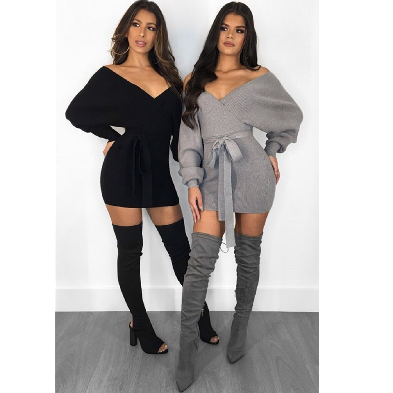 Sexy Off Shoulder Knitted Sweater Dress Women 2018 V Neck Autumn Winter Long Sleeve Backless Bodycon Dress Elegant Party Dress