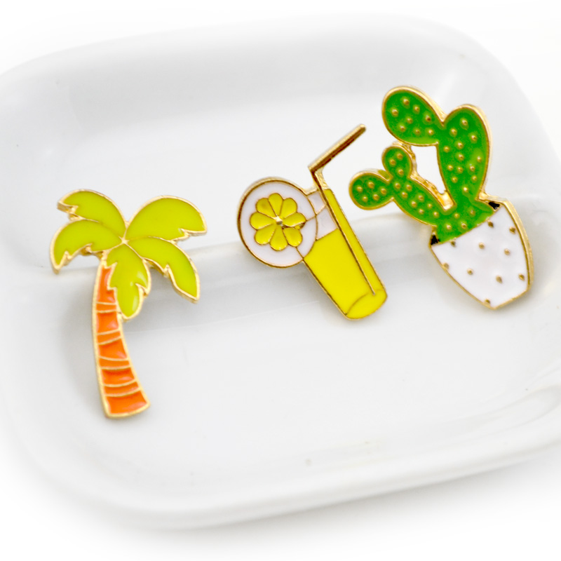 6 Pcs Lot Creative Cactus Coconut Tree Orange Juice Brooch Button Pins Jacket Pin Badge Cartoon Summer Jewelry Gift