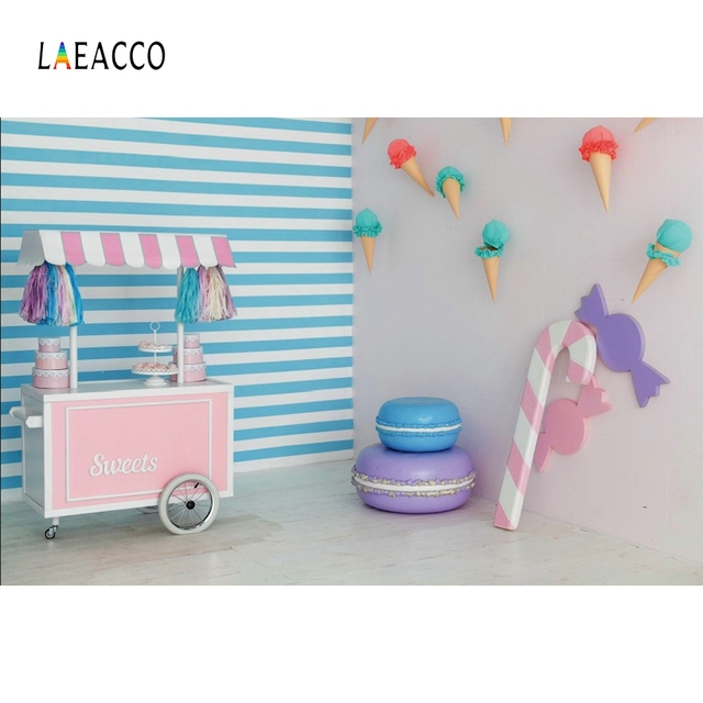 Laeacco Ice Cream Cart Cake Candy House Baby Children Portrait Scene Photography Background Photographic Photo Backdrops Studio