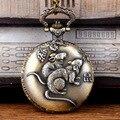 Venda quente do alívio da sabedoria do zodíaco Rato relógio de bolso colar de pingente clássico jóias do mouse para o amigo presentes de aniversário N0389